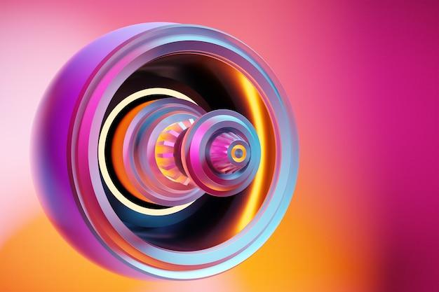 3d-darstellung eines futuristischen teils einer raumfahrzeugturbine unter einem rosa und gelben hintergrund