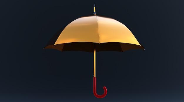 3d-darstellung eines goldenen regenschirms auf schwarzem hintergrund isoliert