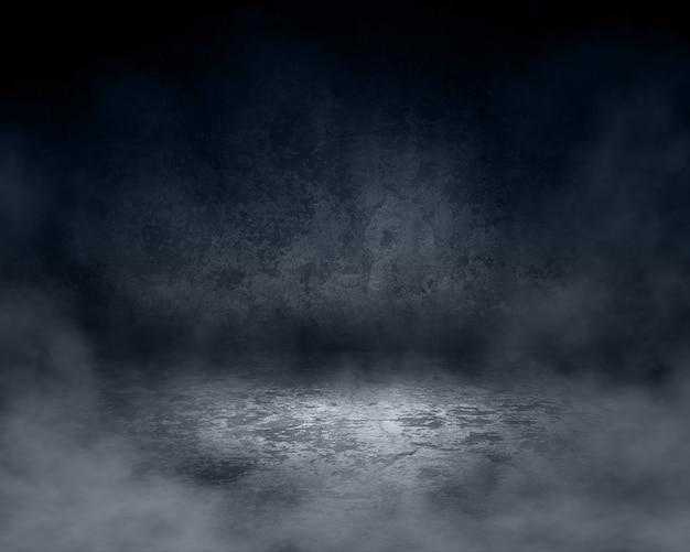 3d-darstellung eines grunge-rauminnenraums mit nebliger atmosphäre
