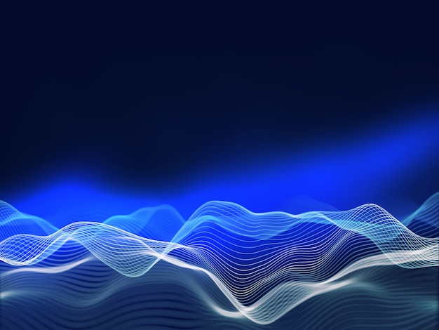 3d-darstellung eines hintergrunds mit fließenden wellen, netzwerkkommunikationsdesign