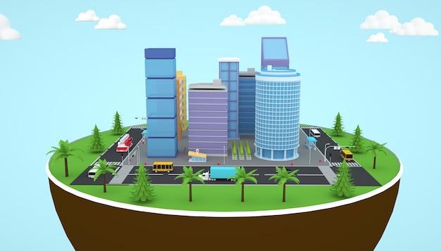 3d-darstellung eines isometrischen stadtwohngebäudes
