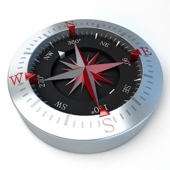 3d-darstellung eines kompasses in einer weißen oberfläche