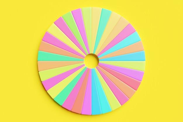 3d-darstellung eines mehrfarbigen kreises, der in eine große anzahl von sektoren unterteilt ist