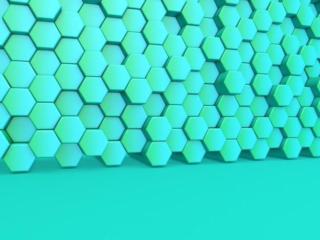 3d-darstellung eines modernen hintergrunds mit einer wand aus extrudierten sechsecken
