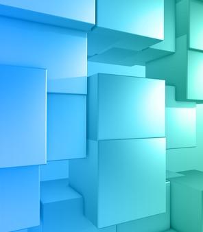 3d-darstellung eines modernen tech-hintergrunds mit extrudierenden würfeln