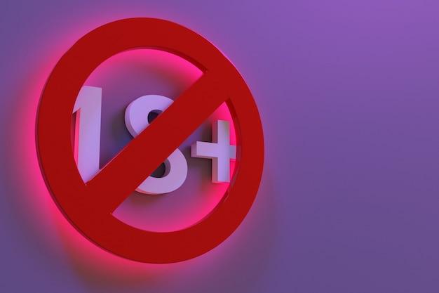 3d-darstellung eines rot leuchtenden 18 jahre altersbeschränkungszeichens auf violettem hintergrund. unter 18 ist das zeichen verboten. nummer achtzehn in einem roten kreis mit einer durchgestrichenen linie. altersbeschränkungszeichen