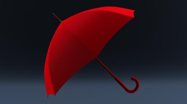 3d-darstellung eines roten regenschirms auf schwarzem hintergrund isoliert