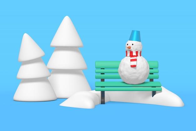 3d-darstellung eines schneemanns, der auf bank in einer schneeverwehung steht