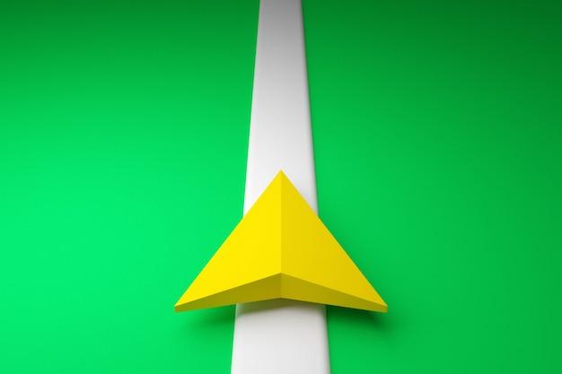 3d-darstellung eines symbols mit der bewegungsrichtung entlang der flugbahn- und navigationsmarkierungen