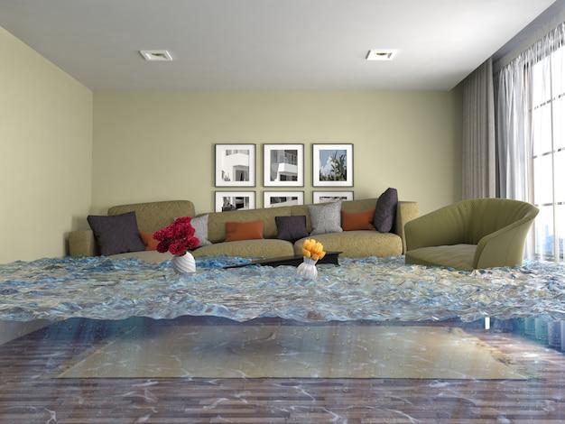 3d-darstellung eines überfluteten modernen raumes