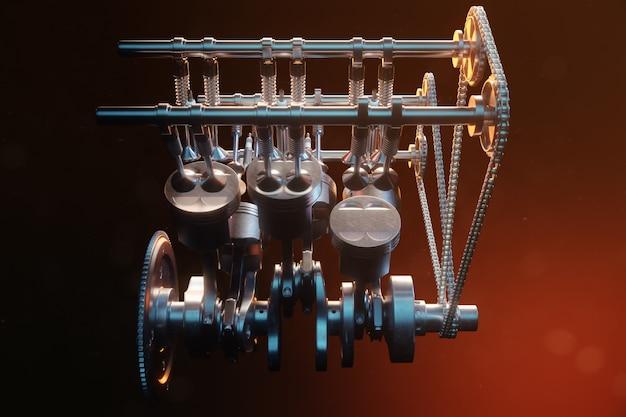 3d-darstellung eines verbrennungsmotors. motorteile, kurbelwelle, kolben, kraftstoffversorgungssystem. v6 motorkolben mit kurbelwelle auf schwarzem hintergrund. abbildung des automotors im inneren.