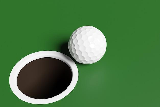 3d-darstellung eines weißen golfballs in der nähe des lochs auf dem spielfeld