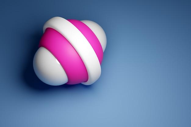 3d-darstellung eines weißen und rosa gyroskops auf einem blauen hintergrund.