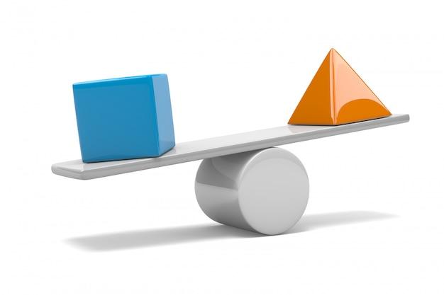 3d-darstellung eines würfels und einer pyramide auf einer waage