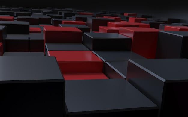 3d-darstellung eleganter schwarzer roter würfel-abstrakter hintergrund