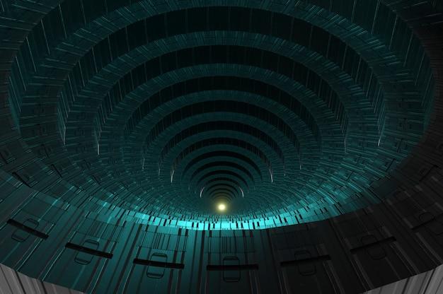 3d-darstellung. elegantes futuristisches licht und reflexion mit metallgitterlinienhintergrund. kopie für platz