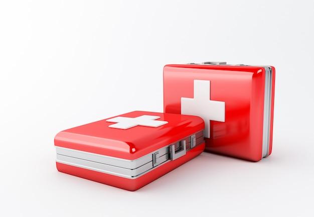 3d darstellung. erste-hilfe-ausrüstung auf weißem hintergrund. konzept der medizinischen ausrüstung.