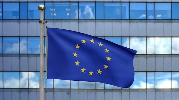 3d-darstellung fahnenschwingen der europäischen union auf moderner wolkenkratzerstadt. schöner hoher turm und europa-banner aus weicher, glatter seide. stoff textur fähnrich hintergrund. nationalfeiertag und länderkonzept.