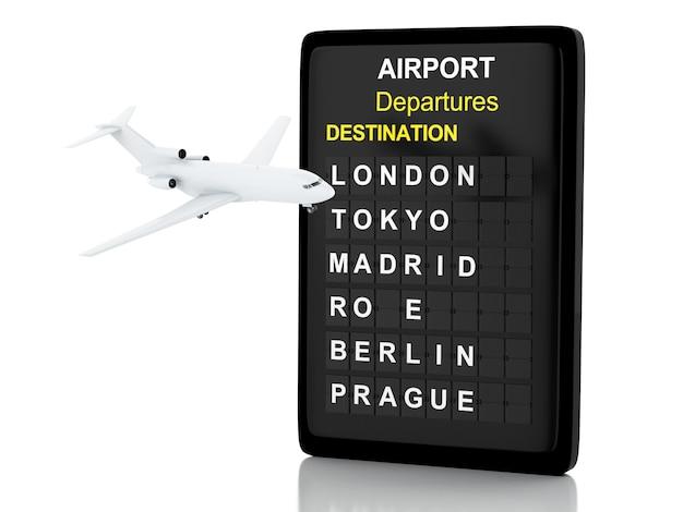3d darstellung. flughafenbrett und flugzeug. reisekonzept getrennter weißer hintergrund
