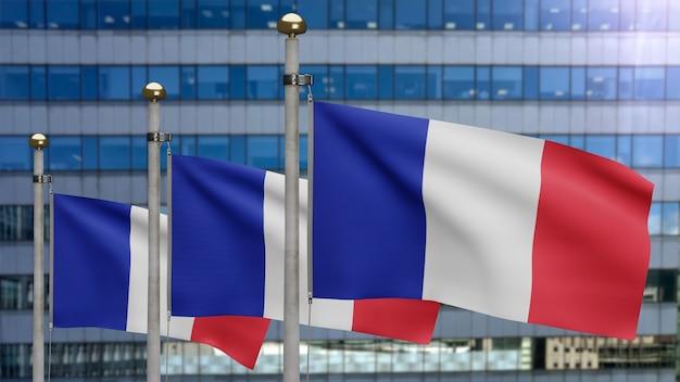 3d-darstellung französische fahnenschwingen in einer modernen wolkenkratzerstadt. schöner hoher turm mit frankreich-banner aus weicher, glatter seide. stoff textur fähnrich hintergrund. nationalfeiertag länderkonzept.