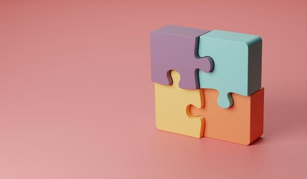 3d-darstellung gedrehte vier puzzleteile oder teamwork-konzept