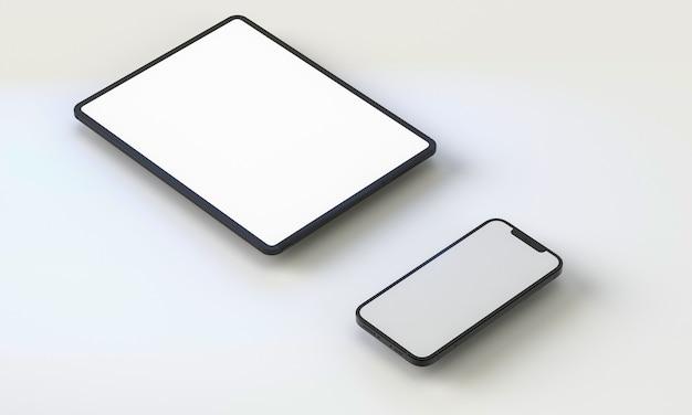 3d-darstellung generischer telefon-mock-up und tablet in einem weißen design high key iphone ipad