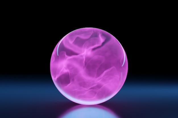 3d-darstellung geometrische volumetrische figur pinklila ball mit einem schatten auf schwarz isoliert