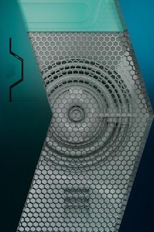 3d-darstellung. gitter-metall-design-hintergrund. leerzeichen für textlogo, moderne futuristische luxusoberfläche des konzepts und broschüre