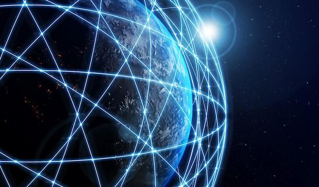 3d-darstellung globale moderne kreative kommunikation und internet-netzwerkkarte