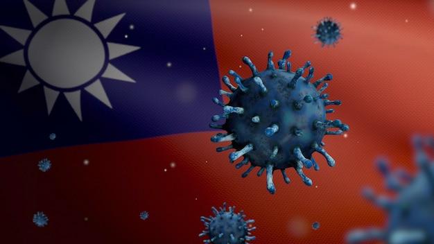 3d-darstellung grippe-coronavirus, das über der taiwanesischen flagge schwebt, erreger greift die atemwege an. taiwan-banner weht mit einer pandemie der covid19-virusinfektion. nahe echte stofftextur fähnrich