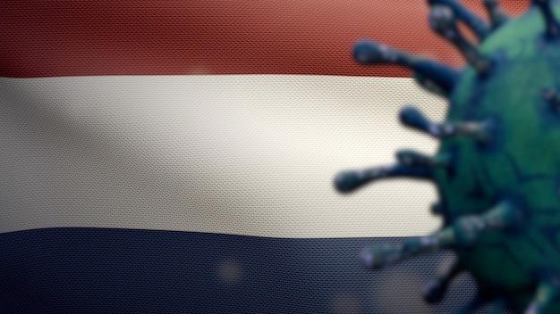 3d-darstellung grippe-coronavirus, das über niederländischer flagge schwebt, krankheitserreger greift die atemwege an. niederlande banner winken mit pandemie des covid19-virusinfektionskonzepts. fähnrich mit echter stofftextur