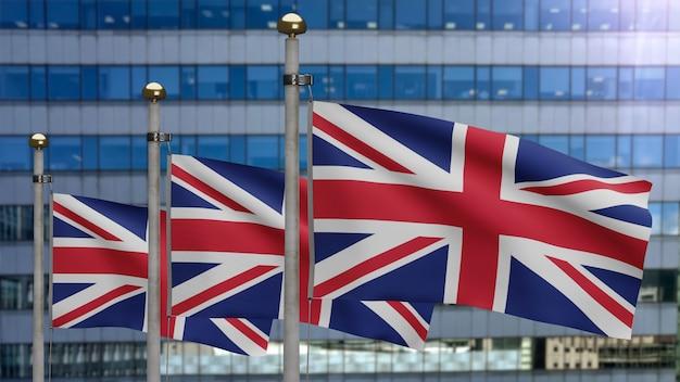 3d-darstellung großbritannien fahnenschwingen in einer modernen wolkenkratzerstadt. schöner hoher turm mit britischem banner aus weicher, glatter seide. stoff textur fähnrich hintergrund. nationalfeiertag länderkonzept.
