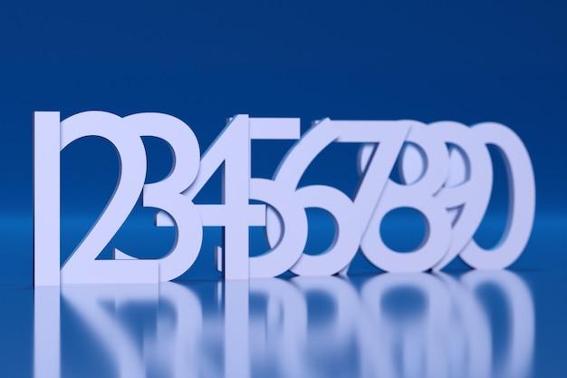 3d-darstellung große weiße volumetrische buchstaben stehen in einer reihe nacheinander mit schatten auf blauem hintergrund. eine reihe mathematischer zahlen