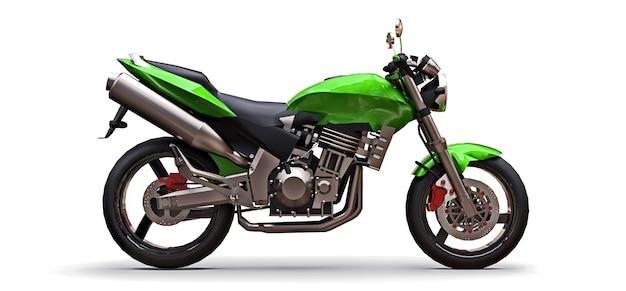 3d-darstellung. grünes urbanes sport-zweisitzer-motorrad auf weißem hintergrund. 3d-rendering.