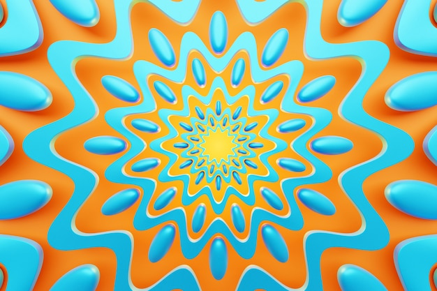 3d-darstellung hautnah abstrakten kaleidoskop-hintergrund. schöne orange und blaue kaleidoskopbeschaffenheit. einzigartiges kaleidoskop-design.