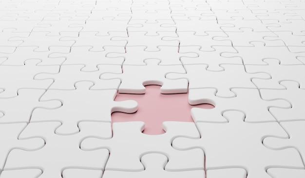3d-darstellung, hintergrund des weißen puzzles mit fehlendem stück.