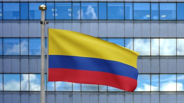 3d-darstellung kolumbianische fahnenschwingen in einer modernen wolkenkratzerstadt. schöner hoher turm mit kolumbien-banner, der weiche seide durchbrennt. stoff textur fähnrich hintergrund. länderkonzept zum nationalfeiertag