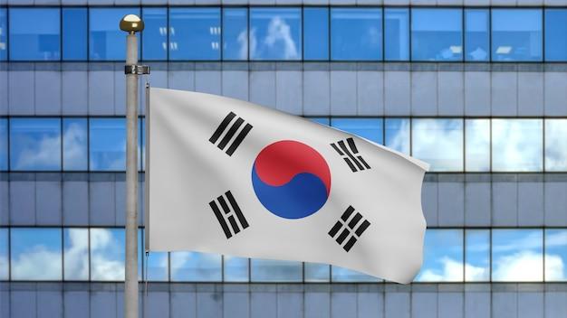3d-darstellung koreanische fahnenschwingen in einer modernen wolkenkratzerstadt. schöner hoher turm mit südkorea-banner, der weiche seide durchbrennt. stoff textur fähnrich hintergrund. länderkonzept zum nationalfeiertag