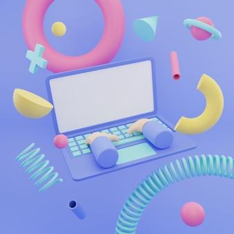 3d-darstellung laptop bunte abstrakte memphis hintergrund ornament leerer bildschirm raum