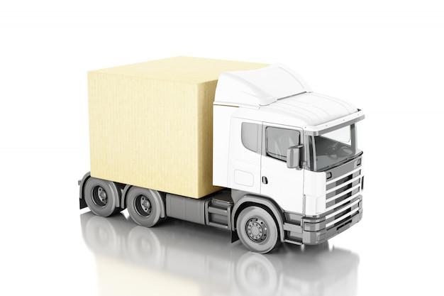 3d darstellung. lkw mit carboard boxen. lieferkonzept. getrennter weißer hintergrund