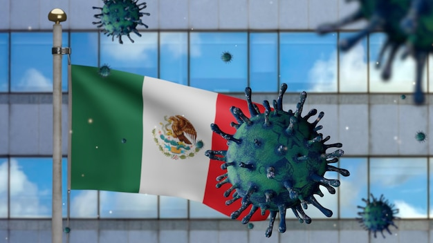 3d-darstellung mexikanische flagge weht auf moderner wolkenkratzerstadt mit coronavirus 2019. schöner hoher turm und ausbruch in mexiko. mikroskop-virus covid 19