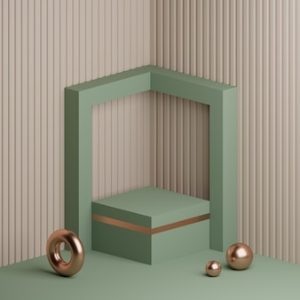 3d-darstellung minimale podiumsproduktanzeige mit abstraktem hintergrund
