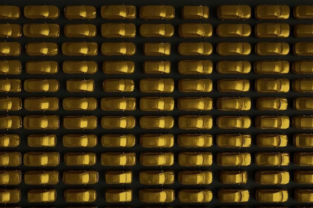 3d-darstellung mit einer großen anzahl goldener autos auf einem dunklen, isolierten hintergrund. viele goldene 3d-autos auf schwarzem hintergrund, ansicht von oben. 3d-grafik