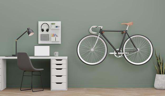 3d-darstellung moderner laptop-computer-monitor mit der grünen wand und dem fahrrad