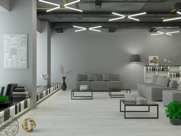 3d-darstellung. modernes interieur im loft-stil hintergrund. möbel und regale. bücherregal. büro