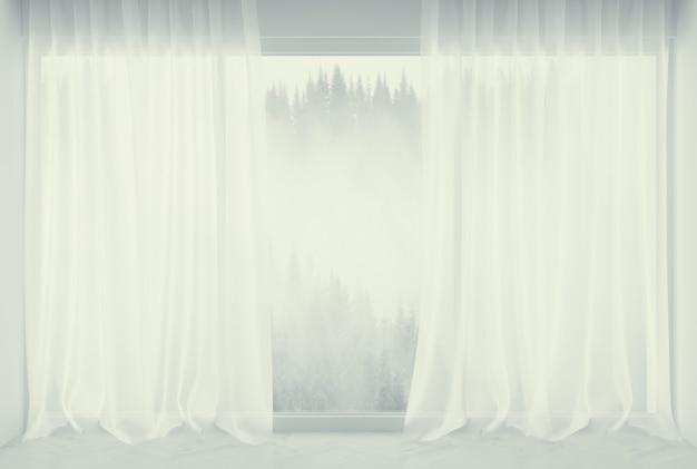 3d-darstellung. modernes interieur mit weißen fenstern und vorhängen