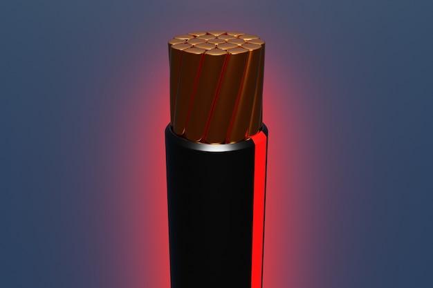 3d-darstellung nahaufnahme eines kupferschwarzen drahtes mit einem leuchtend roten streifen im abschnitt auf einem dunklen hintergrund