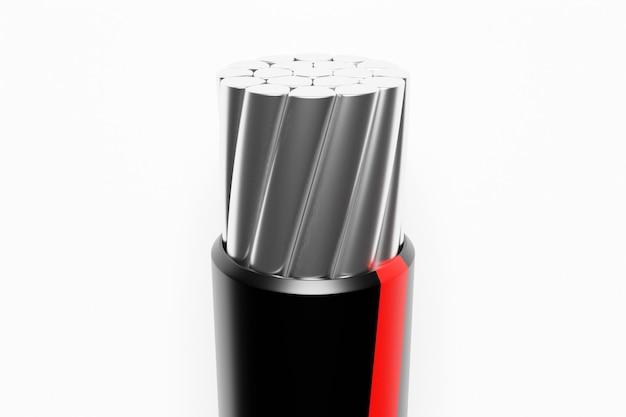 3d-darstellung nahaufnahme geschnittenen aluminium-schwarzdraht auf weißem hintergrund