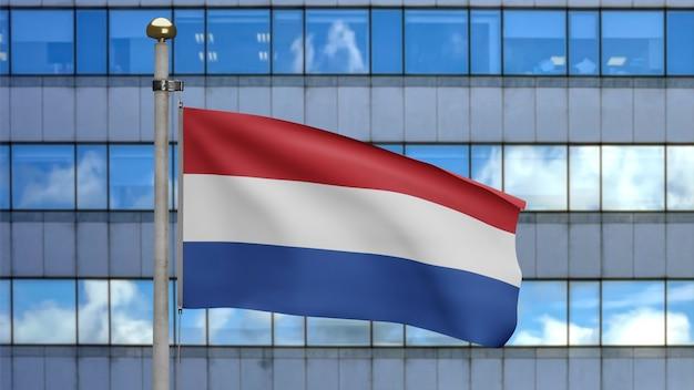 3d-darstellung niederländische fahnenschwingen in einer modernen wolkenkratzerstadt. schöner hoher turm mit niederländischem banner aus weicher, glatter seide. stoff textur fähnrich hintergrund. nationalfeiertag länderkonzept.