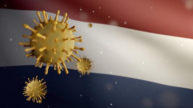 3d-darstellung niederländische fahnenschwingen und coronavirus 2019 ncov-konzept. asiatischer ausbruch in den niederlanden, coronaviren influenza als gefährliche grippefälle als pandemie. mikroskop-virus covid19